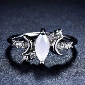 Jewelry - ARRIVED! Silver Opal Crescent Moon Ring